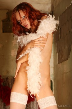 Smoking hot redhead in white stockings