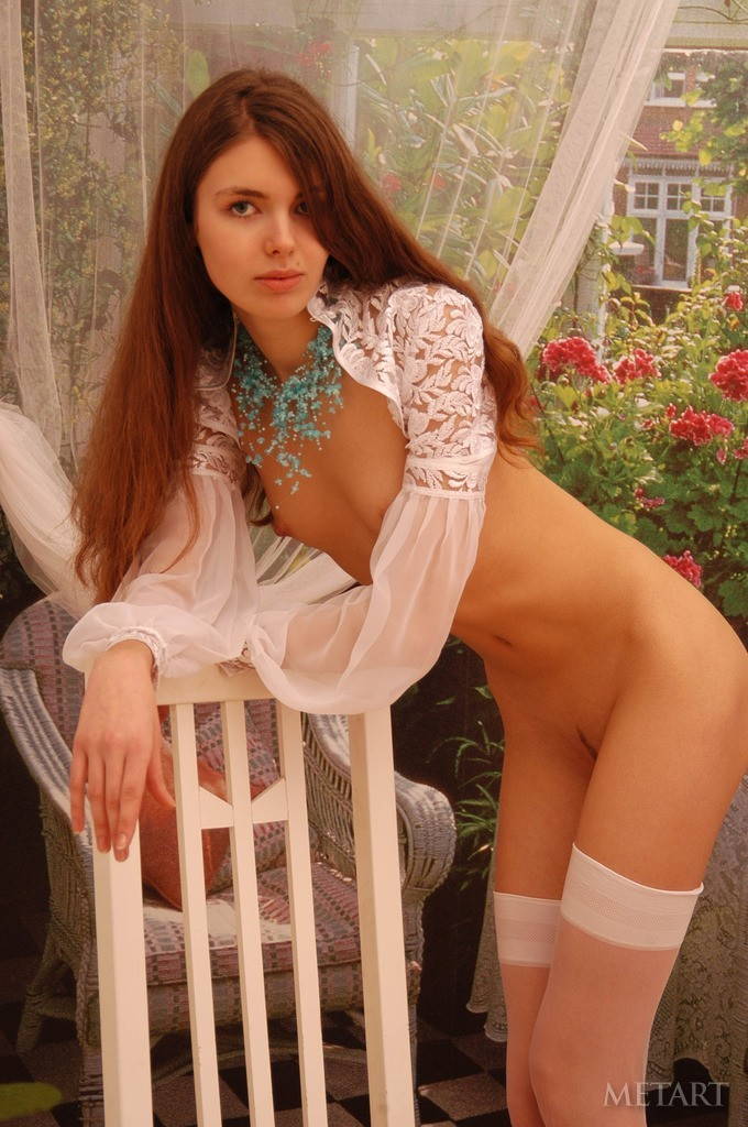 Gorgeous brunette in sexy stockings