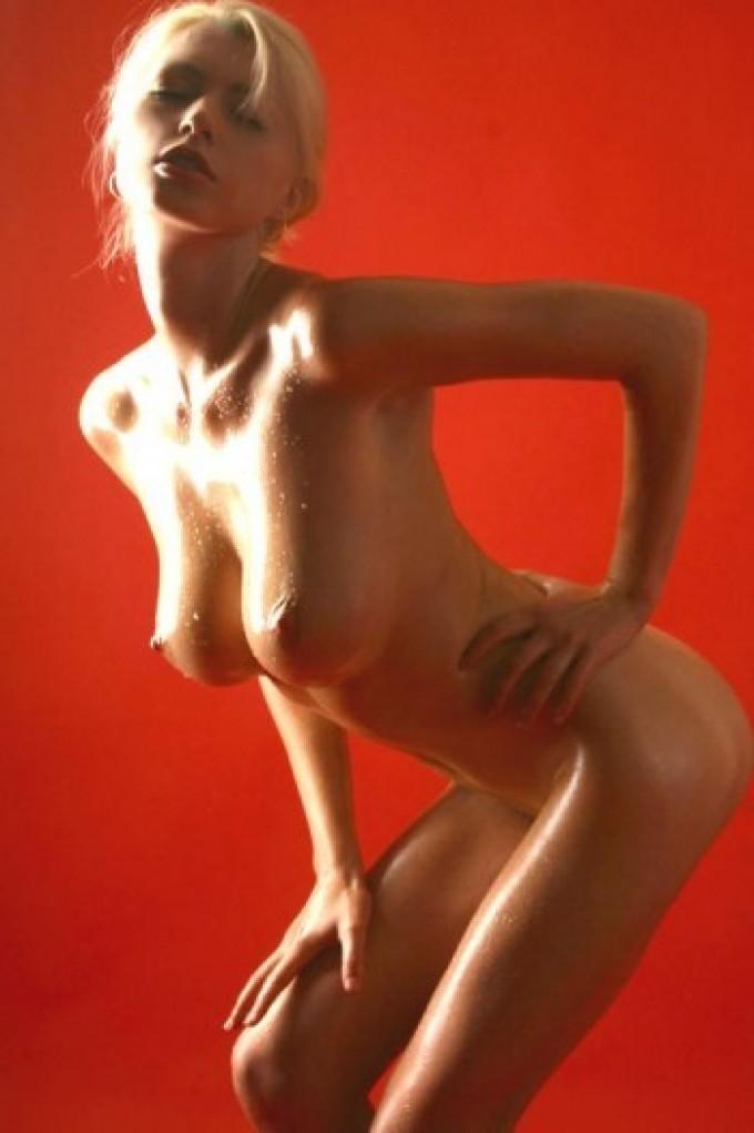 Skinny blondie with big natural boobies