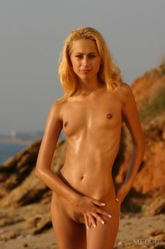 Beach posing scene with an ideal blonde