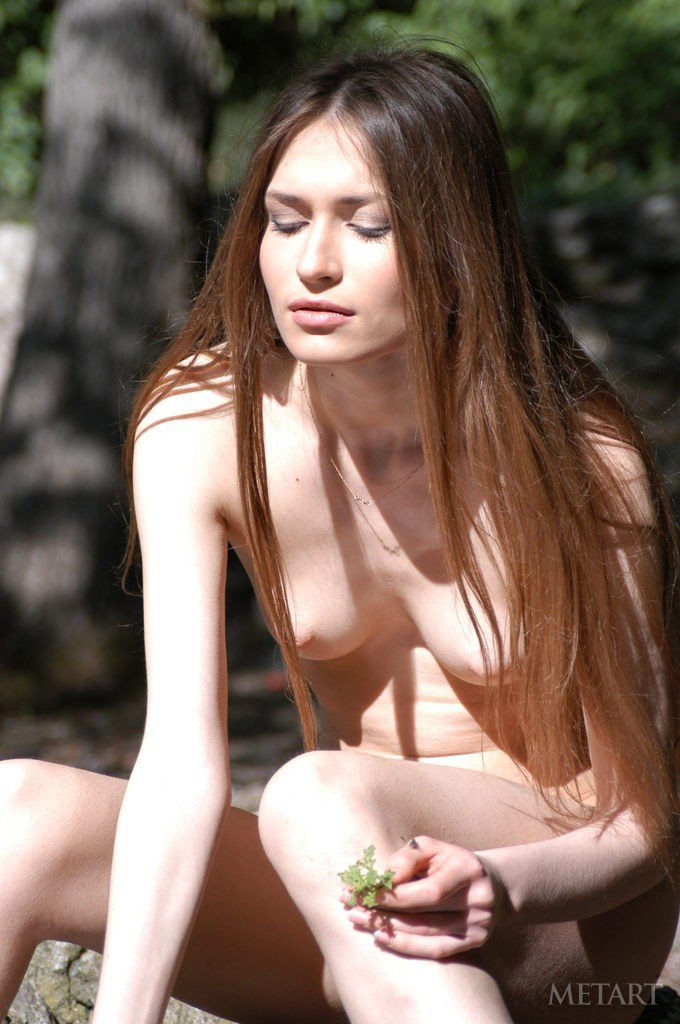 Naked cutie posing in the woods