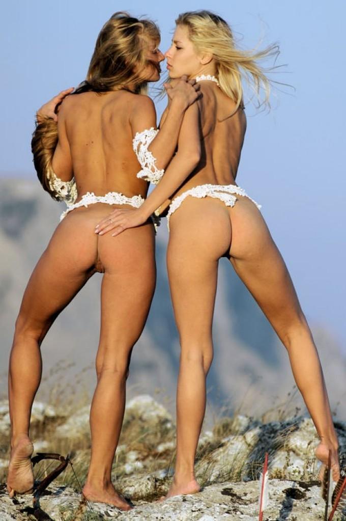 Two beautiful warrior girls outdoors