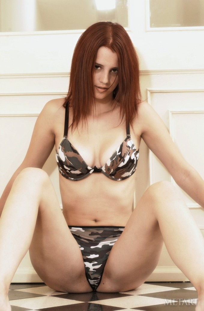 Remarkable coquette in camo swimwear