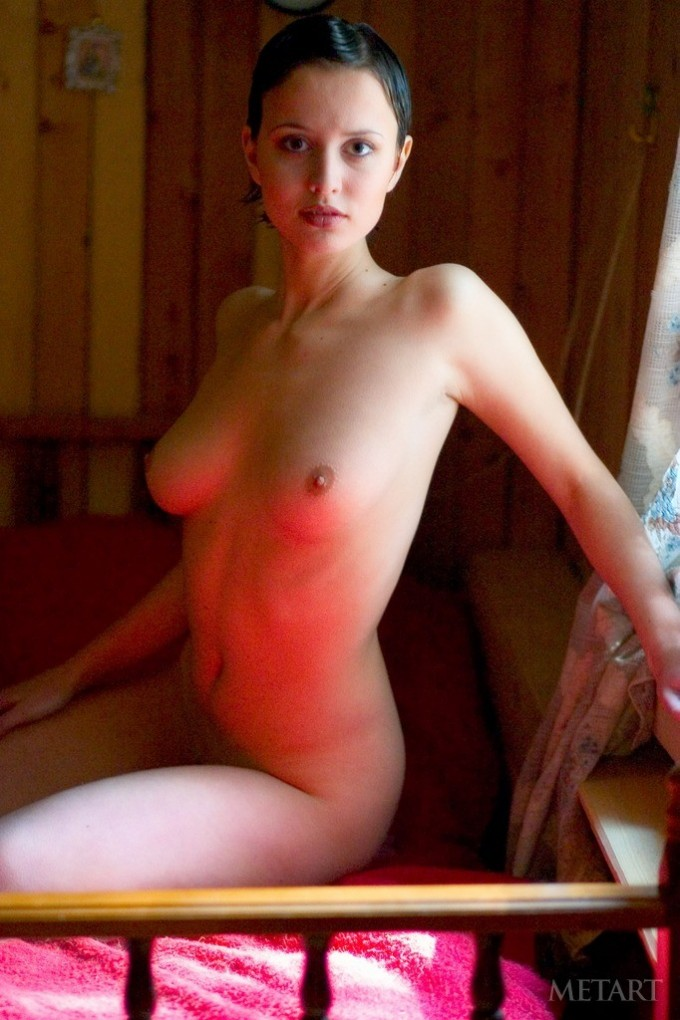 Fantastic posing scene with a short-haired beauty