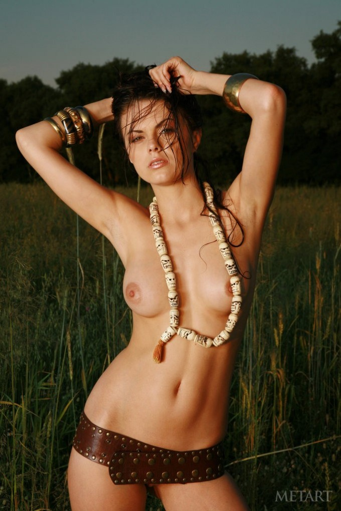 Chick with puffy nipples is in the field