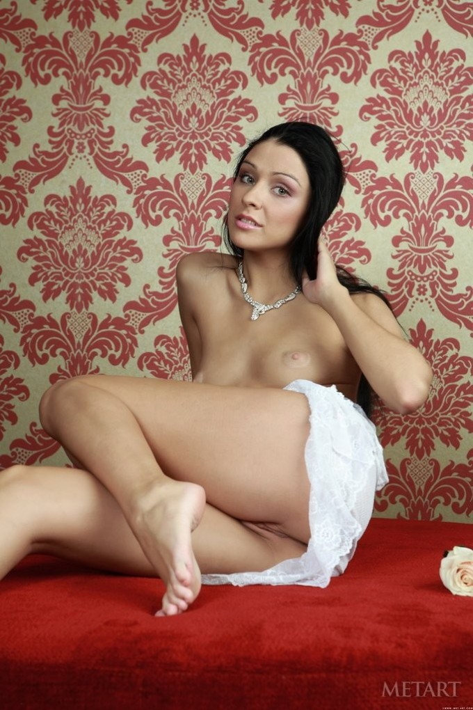 Teen gets out of her skimpy white drees