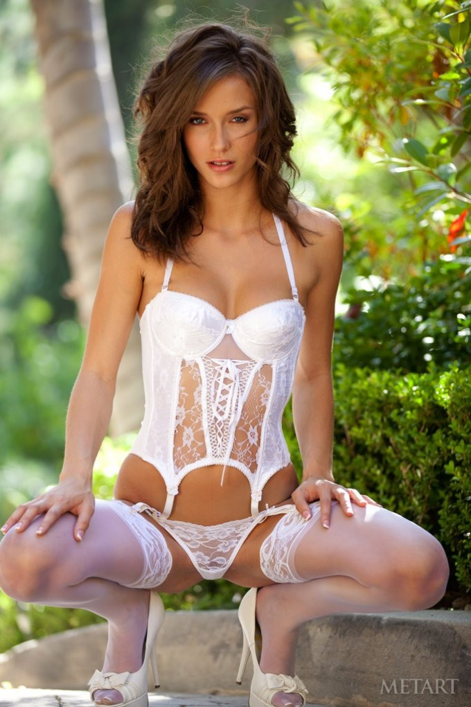 Luxury white stockings on hot brunette