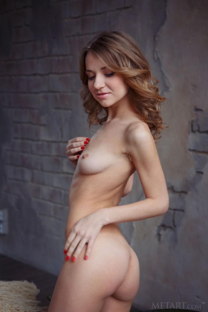 Skinny girl is having some fun while alone