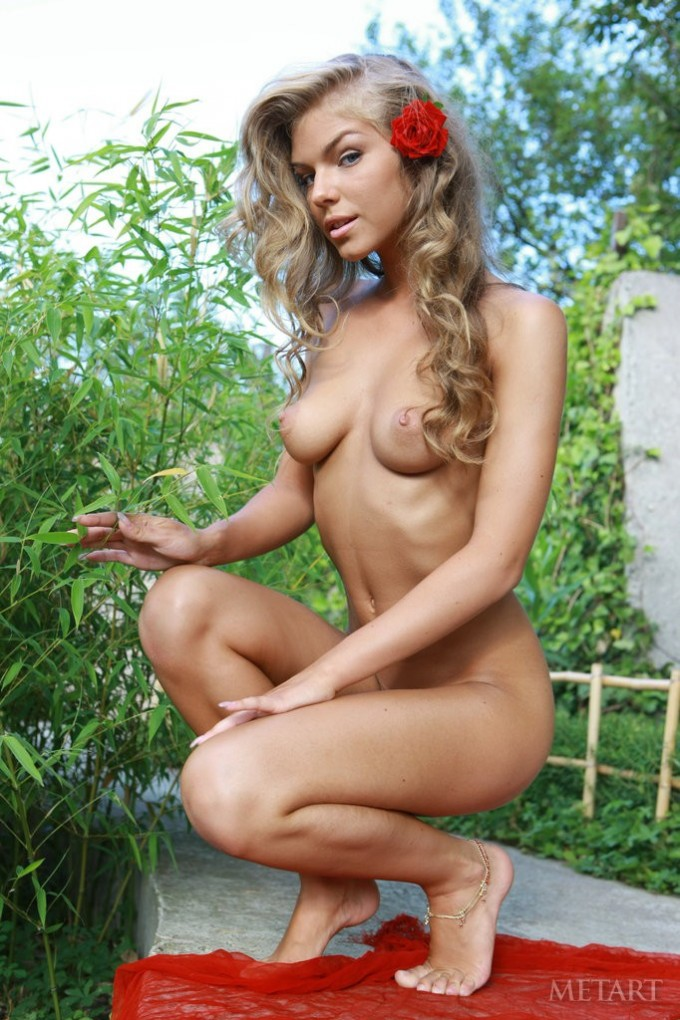 Blondie enjoys showing off outdoors