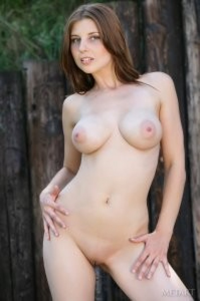 Salacious princess disrobing while leaning on old fence